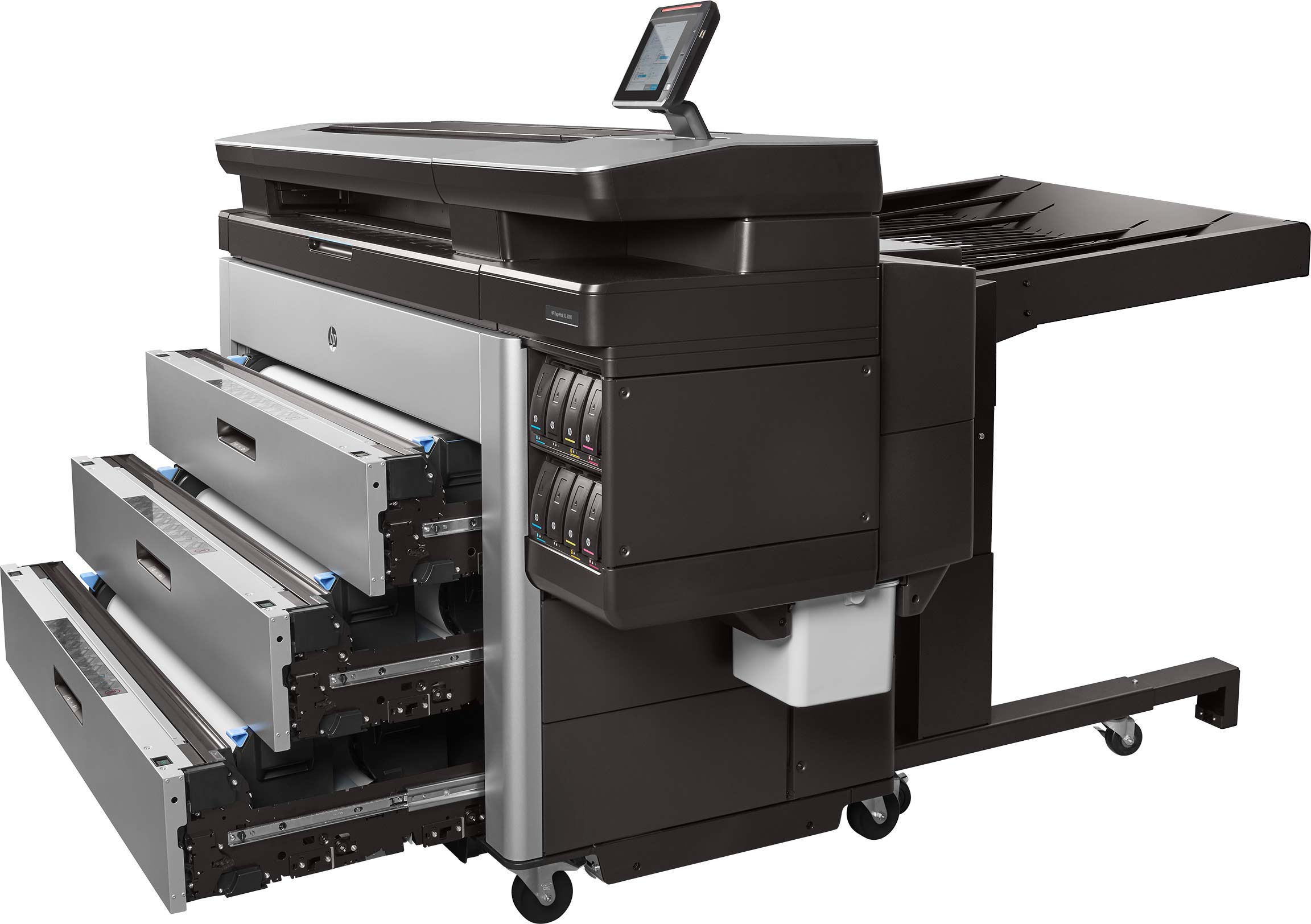 HP Pagewide XL 8000 с открытыми лотками