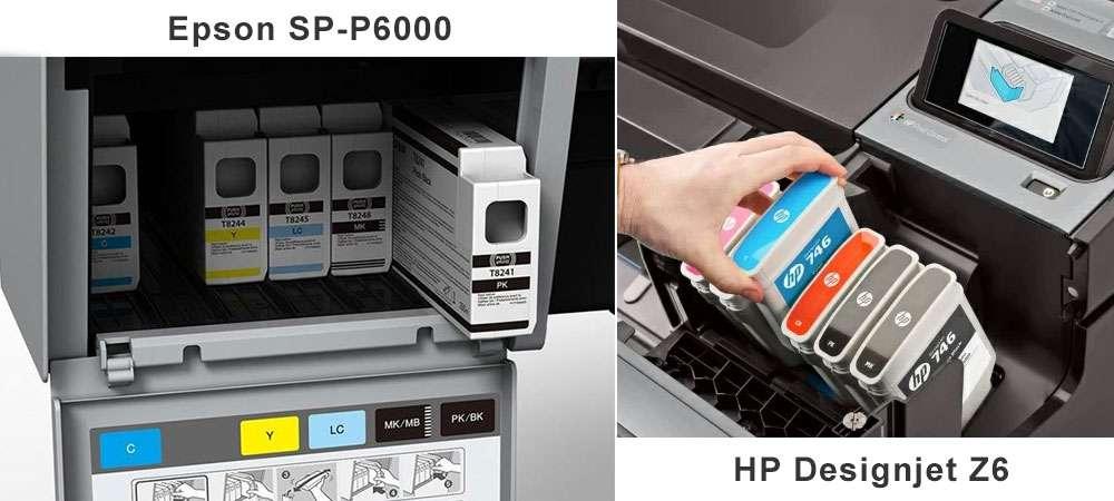Картриджи в плоттерах Epson SC P6000 и HP Designjet Z6
