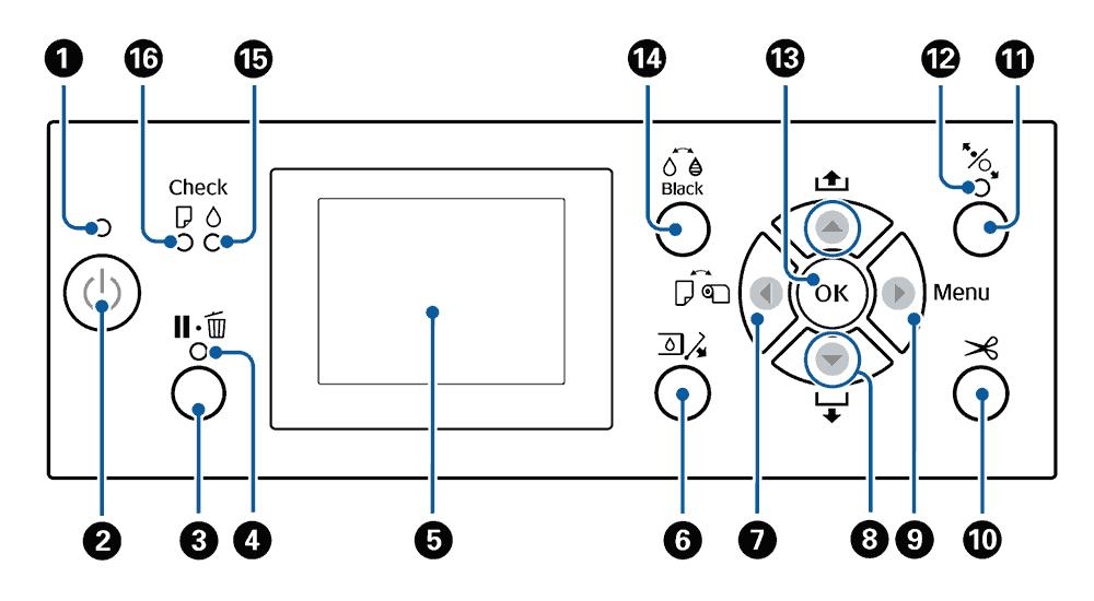 Панель управления плоттера Epson SureColor SC-P
