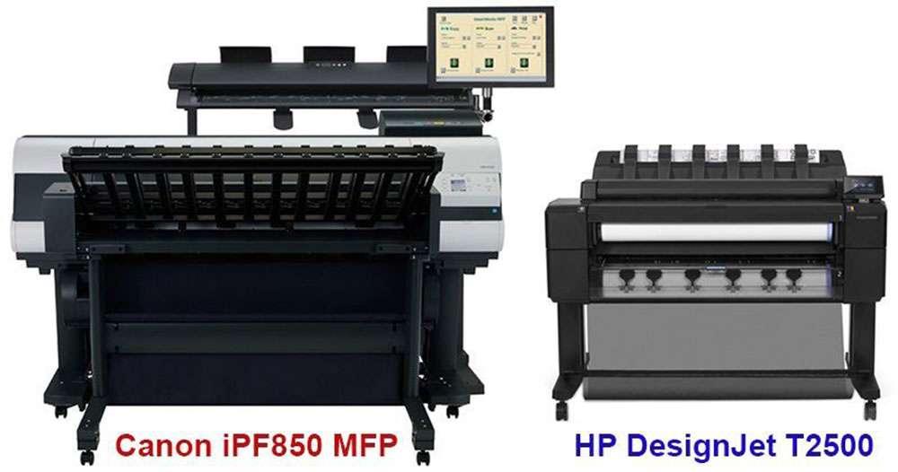 Сравнение размеров МФУ Canon iPF850 и HP DesigJet T2530
