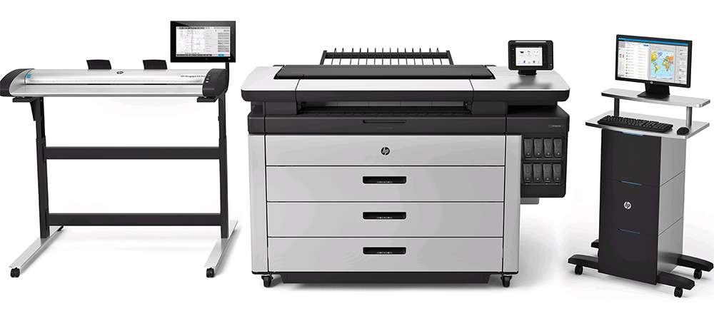 HP PageWide XL 8000 со сканером и компьютером