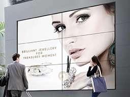 Видеостена из 6 горизонтальных панелей большой диагонали для рекламы