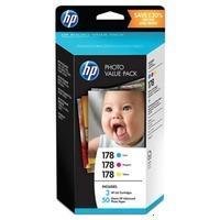 HP T9D89HE Картриджи комплектом 178 синий, пурпурный, желтый цветных 3 шт и 50 листов бумаги , 10x15 см. для Deskjet 3070A и Photosmart