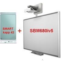 SMART Technologies ПАК SMART KAPP DUAL BOARD Интерактивная система: доска SBM680 диагональ 77/195.6 4:3 (156.5х117.2 см), резистивная,